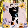 Personalized Faceless Illustration Photo Design Happy Baby Couple Family Pink Blanket - UH