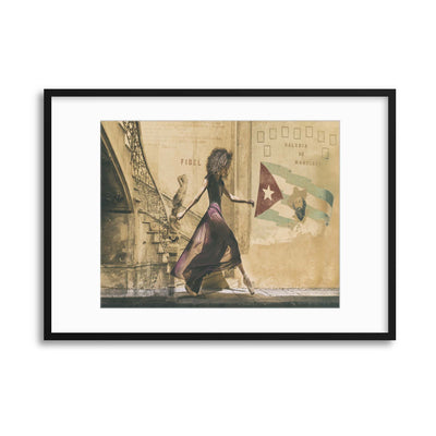 Walking in Havana by Joan Gil Raga Framed Print - USTAD HOME