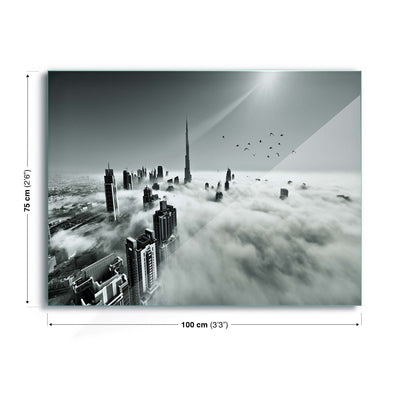 Up up and Above by Naufal Glass Print - UH