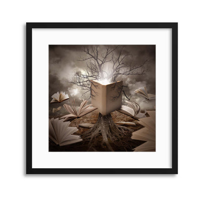 Old Tree Reading Story Book by Angela Waye Framed Print - UH