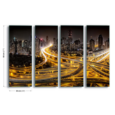 Shanghai at Night by Clemens Geiger Glass Print - UH