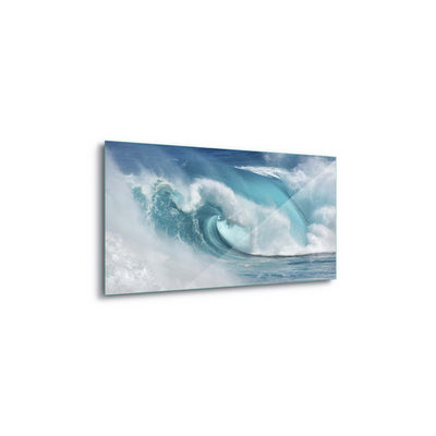 When the ocean turns into blue fire by Daniel Montero Glass Print - USTAD HOME