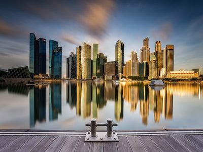 Golden Morning in Singapore by Zexsen Xie Glass Print - UH