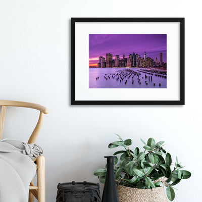 New York Violet Sunset by J.G. Damlow Framed Print - UH