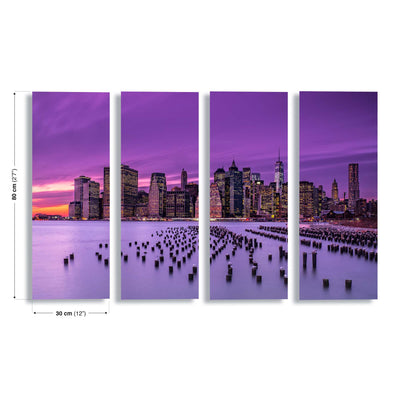 New York Violet Sunset by J.G. Damlow Canvas Print - UH