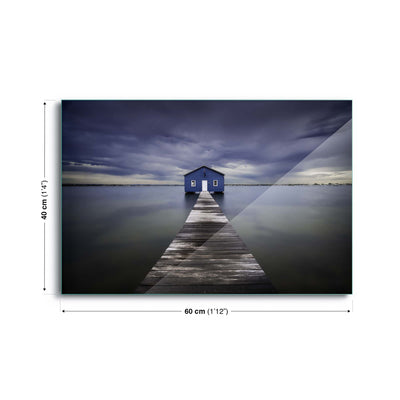 The Blue Boatshed by Leah Kennedy Glass Print - USTAD HOME