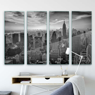 Hazy Gotham by Stefan Schilbe Glass Print - UH