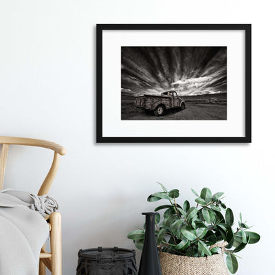 Old Truck (Mono) by Þorsteinn H. Ingibergsson Framed Print - UH
