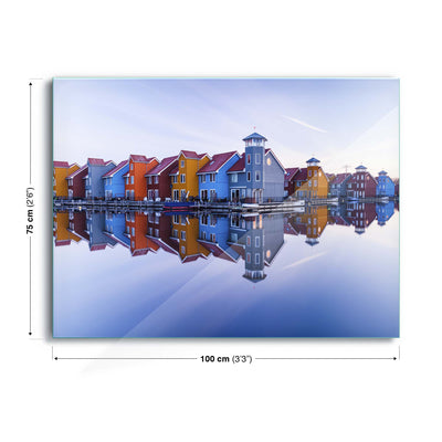 Colored Homes by Ton Drijfhamer Glass Print - USTAD HOME