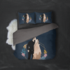 Personalized Faceless Illustration Photo Design Baby Couple Family Blue 3-Piece Bedding Set - UH