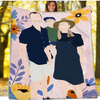Personalized Faceless Illustration Photo Design Baby Couple Family Blanket - UH