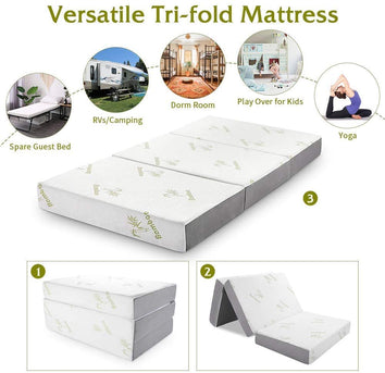 Foldable Non-Slip Tri Mattress with Ultra Soft Removable Cover - UH