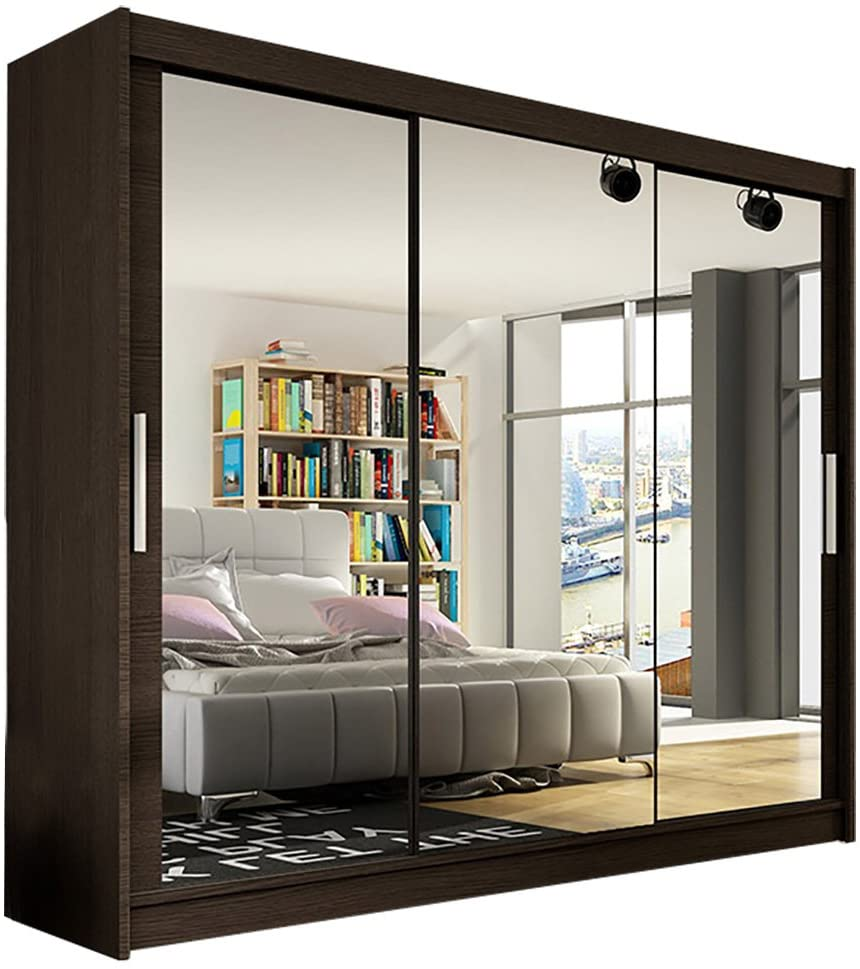 Bedroom Mirror 3 Sliding Door Large Wardrobe - UH
