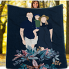 Personalized Faceless Illustration Photo Design Baby Couple Family Blue Blanket - UH