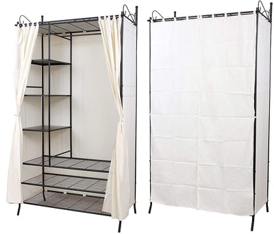 Wardrobe Cupboard Hanging Rail with Metal Frame and Cover - USTAD HOME