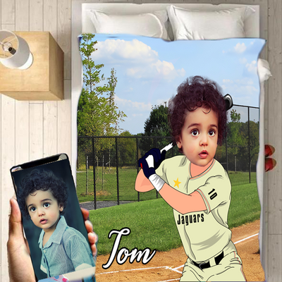 Personalised Baseball Player Boy Blanket - UH