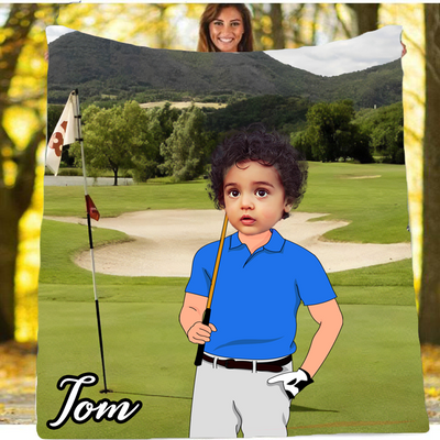Personalised Golf Player Boy Blanket - UH