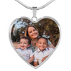 Premium Custom Photo Heart Pendant with Adjustable Silver Necklace - UH