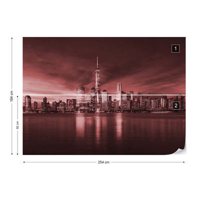 New York City Sunrise in Red Wallpaper - UH