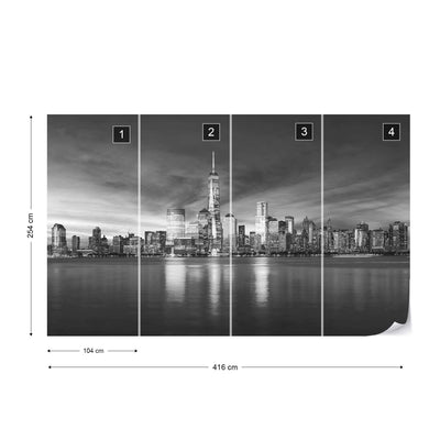 New York City Sunrise in Black and White Wallpaper - UH