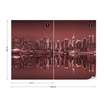 New York Reflections in Red Wallpaper - UH