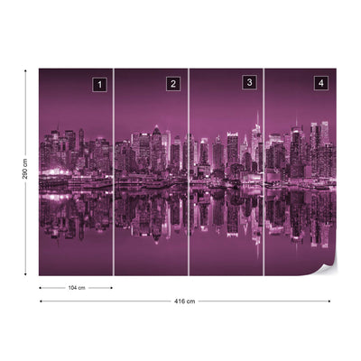 New York Reflections in Pink Wallpaper - UH