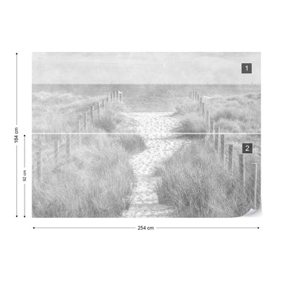 Let's go down to the Beach Faded Vintage Black and White Wallpaper - USTAD HOME