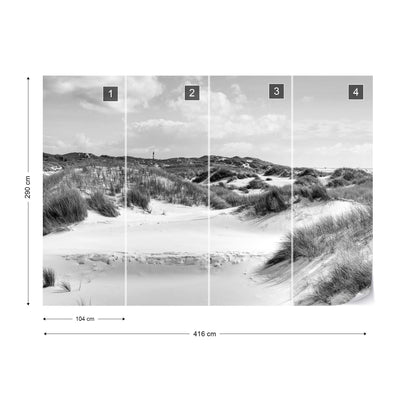 Dune Paradise in Black and White Wallpaper - UH