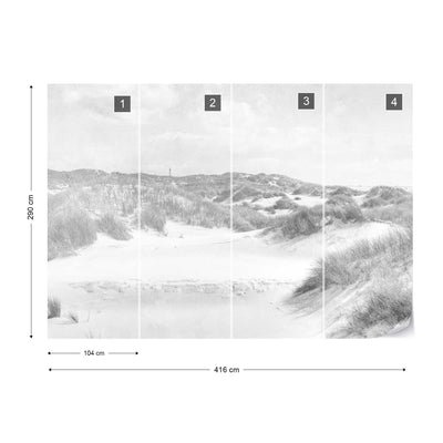 Dune Paradise Faded Vintage in Black and White Wallpaper - UH