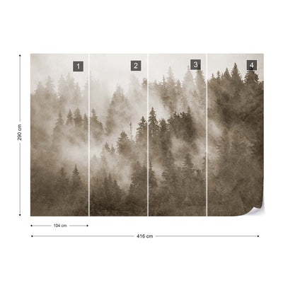 Forest in the Mist Textured in Sepia Wallpaper - USTAD HOME
