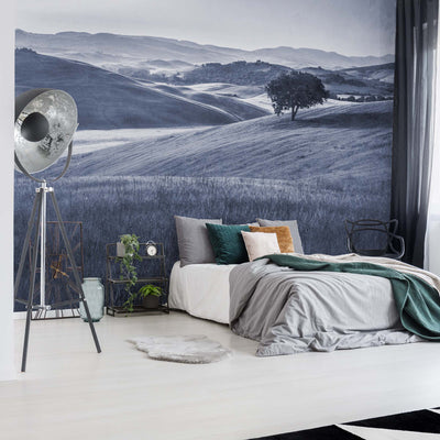 Rolling Hills Faded Vintage in Blue Wallpaper - UH
