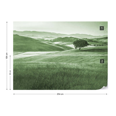 Rolling Hills Faded Vintage in Green Wallpaper - UH