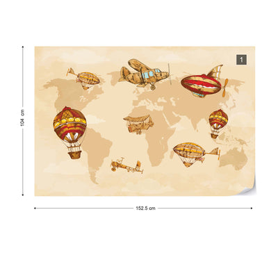 Vintage Planes and Balloons around the World I Wallpaper - USTAD HOME