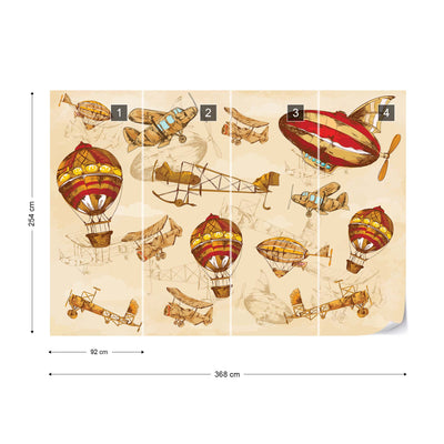 Vintage Planes and Balloons around the World II Wallpaper - USTAD HOME