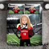 Girl Personalised American Football Player 3-Piece Bedding Set - USTAD HOME