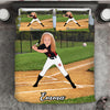 Girl Personalised Baseball Player 3-Piece Bedding Set - USTAD HOME