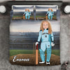 Girl Personalised Cricket Player 3-Piece Bedding Set - USTAD HOME