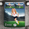 Girl Personalised Football Player 3-Piece Bedding Set - USTAD HOME