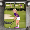 Girl Personalised Golf Player 3-Piece Bedding Set - USTAD HOME