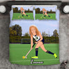 Girl Personalised Hockey Player 3-Piece Bedding Set - USTAD HOME