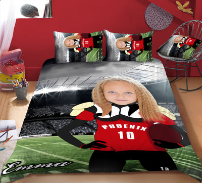 Girl Personalised American Football Player 3-Piece Bedding Set - UH
