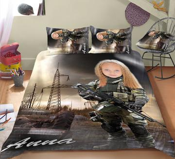Personalised Soldier Girl 3-Piece Bedding Set - UH