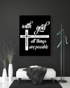 "Motivational ""With God all things are possible"" Canvas Print - USTAD HOME"