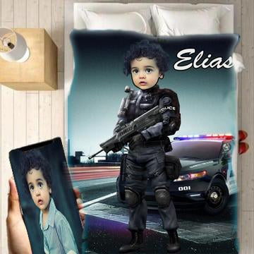 Personalised Police Boy Blanket - UH