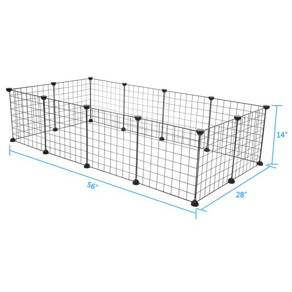 Small Animal Cage Indoor Portable Metal Wire Yard Fence for Small Animals 24 Timothy Pet Playpen Guinea Pigs Rabbits Kennel Crate Fence Tent Black