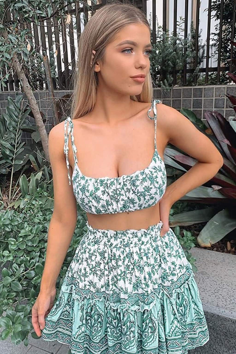 Boho 20 Piece Set, Matching Crop Top and Mini Skirt, Wild Floral in ...
