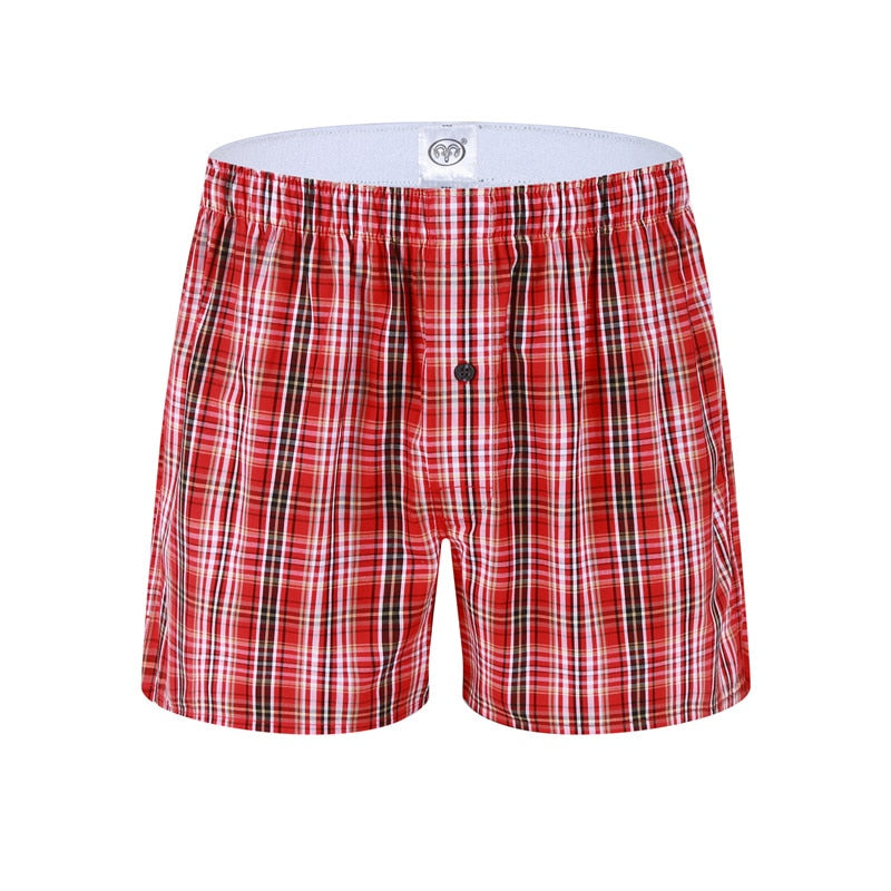 High Quality New Red Classic Large Plaid Men's Underwear Cotton Casual Creathable 3Pack Elastic Waistband European Size