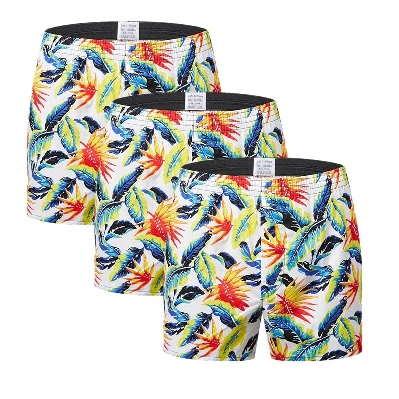 3Pcs/Lot Classic Print Men's Boxers 100% Cotton Oversize Mens Underwear Trunks Woven Homme Arrow Panties Boxer Plus Size