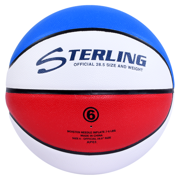 Sterling Status Comp Red/White/Blue Composite Leather Indoor Game Basketball