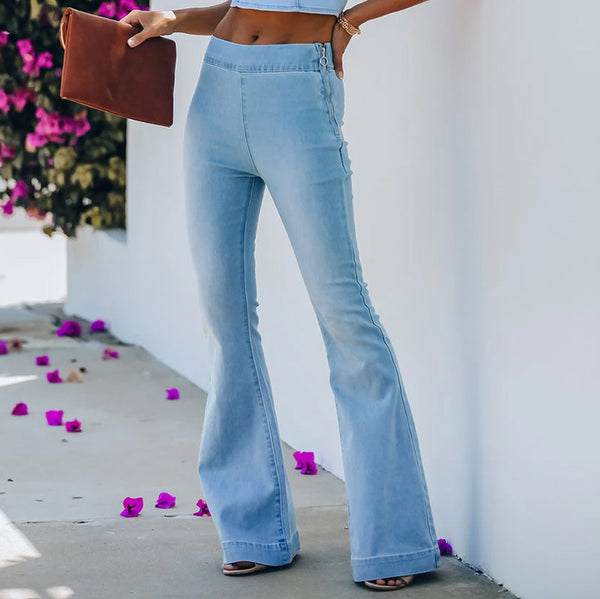 High-rise micro-flare jeans
